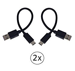 2-Pack Short USB Type C (USB-C) to USB 3.0 Type A Charging and Sync Cable for Nexus 5X, 6P, LG V20, G5, HTC 10, Google Pixel, XL, Samsung A5, A7(2017), Moto Z Force, Sony XZ and Type-C Phone(2x Black)