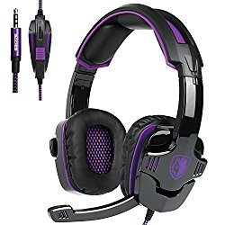 [2016 New Updated Gaming Headset]SADES SA930 3.5mm wired Gaming Headset with Microphone,Noise Isolating Volume Control for Pc/Mac/Ps4/Phone(purple)