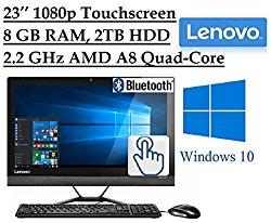 2016 Newest Lenovo Premium 23″ Full HD 1920 x 1080 Touchscreen All-In-One Desktop PC, Quad-Core AMD A8-7410 2.2 GHz, 8GB RAM, 2TB 7200RPM HDD, DVD, Webcam, HDMI, Bluetooth, 802.11ac WiFi, Windows 10