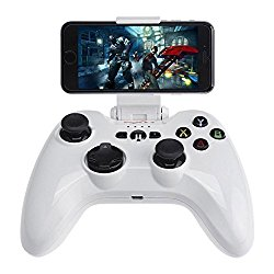 Apple MFi Certified Bluetooth Wireless Gamepad, Megadream IOS Gaming Game Controller Joystick for Apple iPhone 7 6S Plus 6 5S 5 4S, iPad Air 2, iPad Mini 4 3, iPad Pro, Apple TV, iPod Touch 5 – White