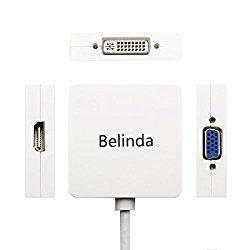 Belinda 3in1 Mini Displayport to HDMI DVI VGA Adapter Cable for Mac Book, iMac, Mac Book Air, Mac Book Pro and Mac Mini
