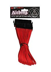 BitFenix Alchemy Multisleeve 24-Pin 30cm ATX Extension Cable -Red Sleeve/Black Connector (BFA-MSC-24ATX45RK-RP)