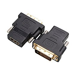 Cable Matters (2 Pack) Gold-Plated DVI to HDMI (Male to Female) Adapter