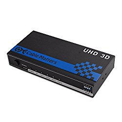 Cable Matters 4-Port HDMI Splitter Supporting 4K Resolution with Twin-Pack 6 Feet High Speed HDMI Cable