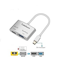 CableDeconn Aluminum shell Multi-Function Thunderbolt Mini Displayport to HDMI VGA Converter Adapter Cable for Apple Macbook Surface pro Thinkpad X1 HDMI 4K HDTV Eyefinity VGA Adapter