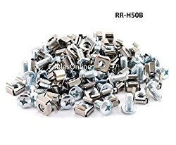 CablesOnline 50 Piece Server Rack & Cabinet M6 Cage Nuts & Mounting Screws (RR-H50B)