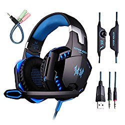 ENVEL G2000 Gaming Headsets PC with Mic Over-ear Professional Headphones with Volume Control 3.5mm LED Light Cool Style Stereo with 3.5mm Audio Y Cable for PS4 (Black & Blue)