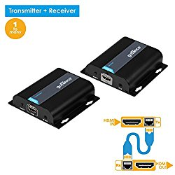 gofanco 120m HDMI Extender over TCP/IP or Cat5e/Cat6 Cables with 1 Transmitter to Multiple Receivers Capability and Remote IR Control – Max 395 Feet (120m) at 1080p (TX & RX Kit, Part# HDBitEXT)