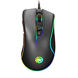 HIRALIY F300 4000DPI RGB Backlit Programmable Gaming Mouse,Optical Wired Mouse for PC (Grey)