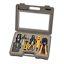 InstallerParts 10 Piece Network Installation Tool Kit — Includes LAN Data Tester, RJ45 RJ11 Crimper, 66 110 Punch Down, Stripper, Utility Knife, 2 in 1 Screwdriver, and Hard Case