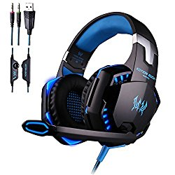 KOTION EACH G2000 Over-ear Gaming Headphone Headset with Mic Stereo Bass LED Light for PC Game(Blue)