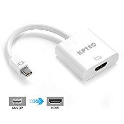 KPTEC Mini DisplayPort (Thunderbolt) to HDMI Adapter for Apple MacBook, MacBook Air, MacBook Pro, Surface Pro – White