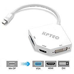 KPTEC Mini DisplayPort (Thunderbolt) to HDMI DVI VGA Adapter – White