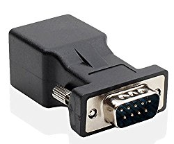LM YN DB9 RS232 COM Male Port to RJ45 Female Connector Card DB9 Serial Port Extender to LAN CAT5 CAT6 RJ45 Network Ethernet Cable Adapter