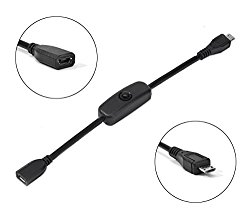 LoveRPi MicroUSB Push On Off Power Switch Cable for Raspberry Pi (Female to Male)