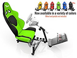 Openwheeler Racing Wheel Stand Cockpit Green on Black   For Logitech G29   G920 and Logitech G27   G25   Thrustmaster   Fanatec Wheels   Racing wheel & controllers NOT included