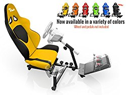 Openwheeler Racing Wheel Stand Cockpit Yellow on Black | For Logitech G29 | G920 and Logitech G27 | G25 | Thrustmaster | Fanatec Wheels | Racing wheel & controllers NOT included