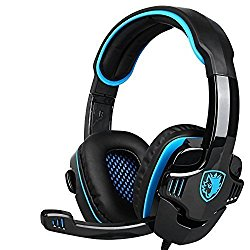 SADES Stereo Gaming Headset, SA708 GT Version Over Ear Computer Headphone with Mic For Laptop PC/Mac/PS4/iPad/iPod/Phones(Black Blue)