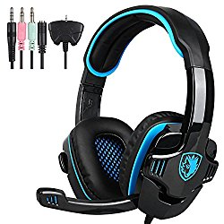 Sades Wired 3.5mm Stereo Universal Gaming Headset with Microphone (SA708 GT) – Black/Blue