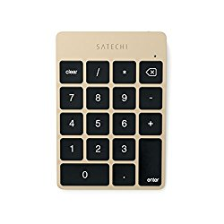Satechi Slim Portable Aluminum Bluetooth Wireless 18-Key Keypad Keyboard Extension for Data Entry in Excel and Numbers for iMac, Macbook, Macbook Pro, Laptops, Workstations (Gold)