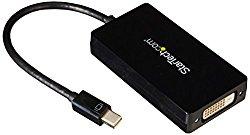 StarTech.com Travel A/V Adapter: 3-in-1 Mini DisplayPort to HDMI Adapter – Mini DisplayPort to VGA – mDP to DVI Converter – 1080p