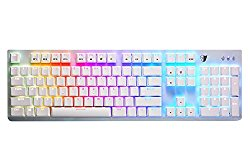 Tesoro Gram Spectrum Low Profile G11SFL Blue Mechanical Switch Single Individual Per Key Full Color RGB LED Backlit Illuminated Mechanical White Gaming Keyboard TS-G11SFL W (BL)