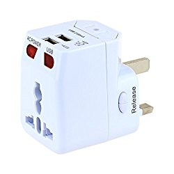 Universal Travel Adapter Wonplug World Travel Adapter Kit Dual USB Ports-UK,US,AU,Europe Plug Adapter-Over 150 Countries& Worldwide USB Power Adapter For Iphone ,Android,All USB Device ( White )