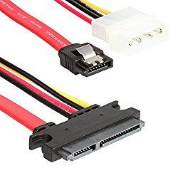 WonderfulDirect 22 Pin SATA ATA Data and Power Combo Cable (SATA22Pin TO data+Power)