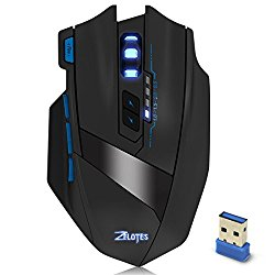 Zelotes F15 Wireless Gaming Mouse For Mac Pro Windows 10 PC Notebook 2500 DPI Adjustable 9 Buttons Led Optical Gaming Mice for Laptop Desktop Gamer EMMETTS