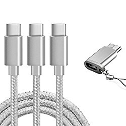 USB Type C Cable, Marge Plus USB C Cable 3 Pack (6ft), Nylon Braided Fast Charger Cord for Samsung Galaxy S8 S9 Note 8 S8 Plus, LG G6 G5 V30 V20, ,Moto Z2,Google Pixel, New Macbook and More