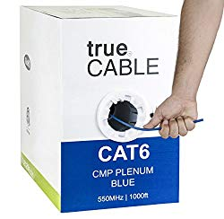 Cat6 Plenum (CMP), 1000ft, Blue, Solid Bare Copper Bulk Ethernet Cable, 550MHz, ETL Listed, 23AWG 4 Pair, Unshielded Twisted Pair (UTP), trueCABLE