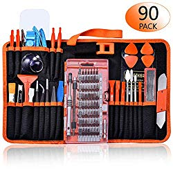 GANGZHIBAO 90pcs Electronics Repair Tool Kit Professional, Precision Screwdriver Set Magnetic for Fix Open Pry Cell Phone, Apple iPhone, Computer, PC, Laptop, Tablet, iPad, Macbook with Portable Bag
