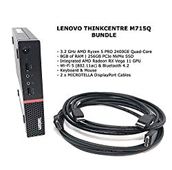 LENOVO THINKCENTRE M715Q (2ND GEN) – Tiny – 3.2 GHz RYZEN 5 PRO 2400GE Quad-Core – 8GB RAM – 256GB SSD WIN10 Pro Business Desktop with Microtella DisplayPort Cables