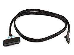 Monoprice 1m 28AWG Internal Mini SAS 36-Pin SFF-8087 Male to SAS 32-Pin SFF-8484 Female Cable, Black (108191)