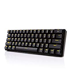 Royal Kludge RK61 61 Keys Wired/Wireless Multi-Device Yellow LED Backlit Mechanical Gaming/Office Keyboard for iOS, Android, Windows and Mac with Rechargeable Battery, Blue Switch -Black