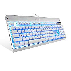 Eagletec KG011 Mechanical Keyboard, USB Wired Natural Ergonomic Keyboard, Industrial Aluminium, Backlit and Blue Switch with 104 Illuminated LED backlighted Keys for Windows PC Office Gamer – White