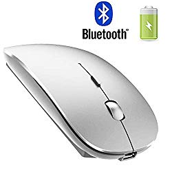 Rechargeable Bluetooth Mouse for Mac Pro Air Laptop Wireless Bluetooth Mouse for Laptop Mac Pro/Air OS Windows Notebook Silver