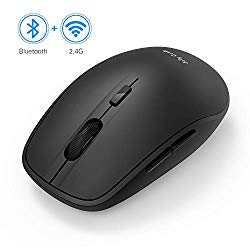 Wireless Bluetooth Mouse, Jelly Comb Dual Mode Bluetooth 4.0 Mouse 2.4G Wireless Portable Optical Mouse with USB Nano Receiver, 3 Adjustable DPI Levels for PC, Laptop, Windows, Android, OS System