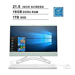 2019 HP Pavilion All-in-One 21.5 Inch FHD 1080P Desktop (Intel Celeron G4900T 2.9GHz, 16GB DDR4 RAM, 1TB SSD, Intel UHD Graphics 610, WiFi, Bluetooth, HDMI, Windows 10) (Mint)