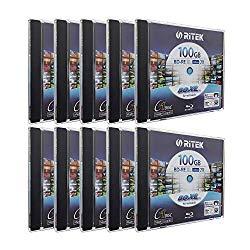 10 Pack Ritek BD-RE XL Rewritable BDXL 100GB Triple Layers 2X White Inkjet Hub Printable Blank Disc