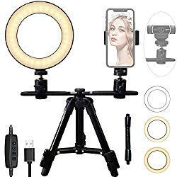 6″ Ring Light Webcam Stand Phone Holder, Etubby LED Lamp Live Stream Camera Lighting [3-Mode, 10-Level] 17-52cm Tripod for Cellphones, Logitech Webcam C922 C930e C930 C920 C615, Lightweight Camera