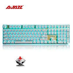 Ajazz AK33i Mechanical Gaming Keyboard, 108 Keys Anti-Ghosting, Blue LED Backlight Multimedia Ergonomic USB Gaming Keyboard with Red Switch for Gamer & Typists, White Keyboard