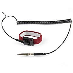Anti Static ESD Wrist Strap – FEITA Antistatic Bracelet with 8 Feet Grounding Wire – Static-Release Wristband with Clip – Wine Red – 1 Pc