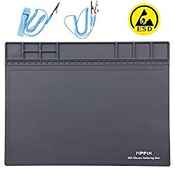 Anti-Static Mat ESD Safe for Electronic Includes ESD Wristband and Grounding Wire, HPFIX Silicone Soldering Repair Mat 932°F Heat Resistant for iPhone iPad iMac, Laptop, Computer, 15.9″ x 12″ Grey