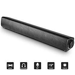 Arbalest Computer Speakers USB Powered Wired Sound Bar with Mic, 3.5mm Aux-in Connection Stereo Mini Soundbar Speaker for PC Cellphone Tablets Desktop Laptop Projector