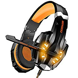 BENGOO Stereo Gaming Headset for PS4, PC, Xbox One Controller, Noise Cancelling Over Ear Headphones Mic, LED Light, Bass Surround, Soft Memory Earmuffs for Laptop Mac Nintendo Switch Games – Orange