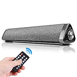 Bluetooth Computer Speakers, Chuangker Wired/Wireless Mini Sound Bar Built-in Mic, USB Computer Speakers with Remote Control for TV/PC/Cellphone/Tablet/Desktop/Laptop