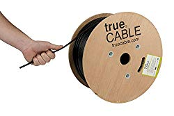 Cat5e Outdoor, 1000ft, Waterproof Direct Burial Rated CMX, 24AWG Solid Bare Copper, 350MHz, ETL Listed, Unshielded UTP, Bulk Ethernet Cable, trueCABLE