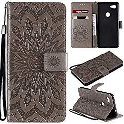Cfrau Kickstand Wallet Case with Black Stylus for Google Pixel 3A XL,Retro Mandala Sunflower PU Leather Magnetic Flip Folio Stand Soft Silicone Card Slots Case with Wrist Strap – Gray