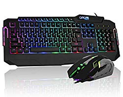 CHONCHOW LED Gaming Keyboard and Mouse Combo Rainbow Backlit Wired Gaming Keyboard with 6 Button Gaming Mouse Compatible with PS4 Mac Xbox PC Windows(Black)